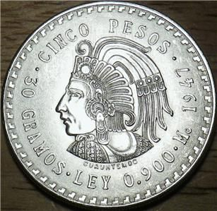 1947 Mexico Silver 5 Pesos Very Large High Quality UNC Coin Look