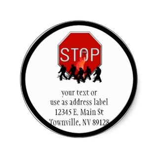 Crossing Guard w/Kids & Stop Sign Round Stickers