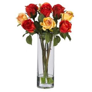 Silk Rose w Glass Vase Artificial Flower Arrangement
