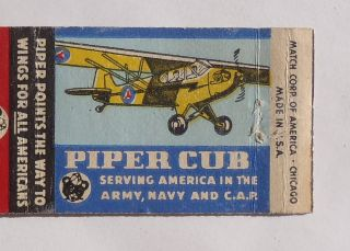 Matchbook Piper Cub Airplane Offer Aircraft Corporation Lock Haven PA