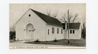 Long Lake IL Illinois Postcard Greeting Lutheran Church YJ9980