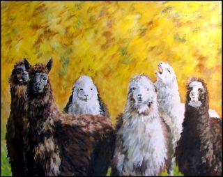 Linda Davidson Llamas Original Oil Canvas Painting Artwork Art SUBMIT