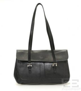 Longchamp Black PEBBLED Leather Shoulder Bag