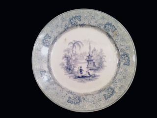 ANTIQUE T J & J MAYER LONGPORT FLOW BLUE PLATE CIRCA 1830 45 LARGE