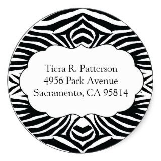 Zebra Print Custom Circle Address Label Round Round Sticker