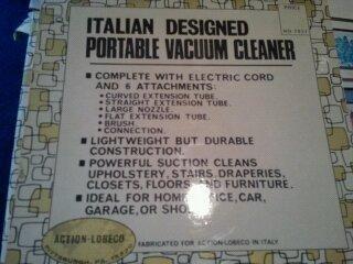 Vintage Italian Designed Portable Vacuum Cleaner