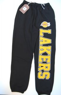 Los Angeles Lakers Black NBA Fleece Sweatpants Mitchell Ness Authentic