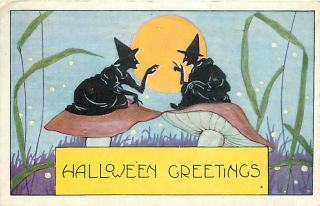 Halloween Two Witches Sitting on Mushrooms Moon mailed 1921 K16661