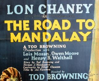 Lon Chaney Orig 1926 Stone Litho 1 s Road to Mandalay