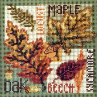 Leaves Cross Stitch Kit Mill Hill 2009 Buttons Beads Autumn