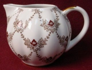 Lomonosov China Maroon Iris Pattern Creamer Cream Pitcher Jug