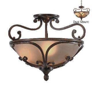 NEW 3 Light Pendant or Semi Flush Ceiling Lighting Fixture, Bronze