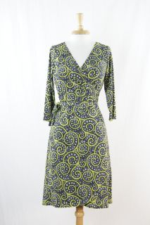 London Times Light Green Black White Geometric Wrap Dress Size 12 P
