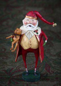 Lori Mitchell Christmas Cheer Santa Claus Holding Teddy Bear Figurine
