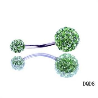 1pc Navel Belly Button Bar Ring Double Crystal Ball Ferido Body