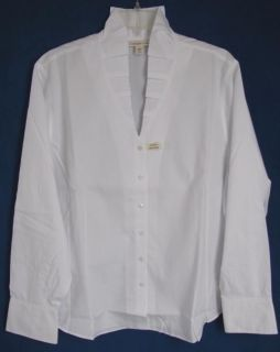 Coldwater Creek Long Sleeved Ruffle Neck No Iron Blouse