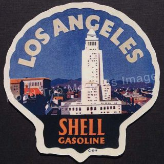 Shell Gasoline Los Angeles 1920s Travel Decal Magnet w Big House