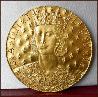 Scarce Louis IX  Saint Louis  Christ French 45mm Gilt Bronze Medal
