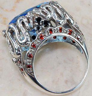 London Blue Topaz 925 Sterling Silver Snake Ring Sz 6 5
