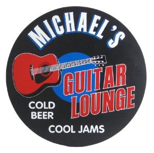 Personalized Guitar Lounge Round Wood Wall Sign Decor Music Wood Bar
