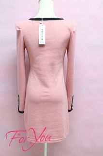 Foryou Womens Autumn Long Sleeve Pink Cotton Sweater Dress C8079M L