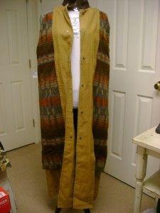 Ll Bean Brown Canvas Barn Long Coat Sz M Wool Liner Leather Trim