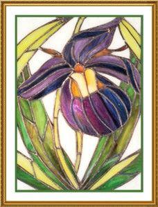 Louis Comfort Tiffany Lady Slipper Flower Counted Cross Stitch Chart