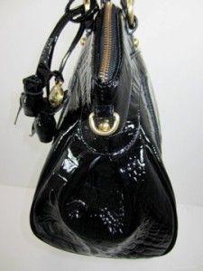 Brahmin Black Glossy Louise Rose Lady Melbourne Croco Leather Satchel