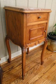French NIGHTSTAND ~ Antique Carved Lamp Table Louis IV Marble Walnut