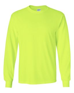 Gildan 2400 Long Sleeve Safety T Shirt ANSI Compliant High Vis Sizes s