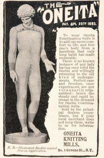 Oneita Knitting Union Suit Underwear Long Johns   ORIGINAL ADVERTISING