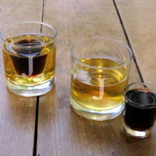 two 8 ounce lowball glasses and two 1 ounce shot glasses