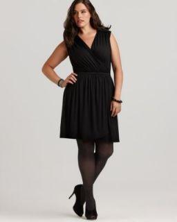 Love ady New Black Sleeveless Zipper Accent Faux Wrap Casual Dress