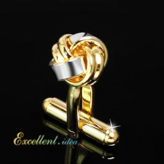LOVE DOUBLE KNOT TWIST DOUGH GOLD SILVER TONED WEDDING MENS CUFFLINKS