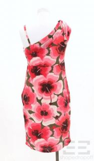 Love Moschino Pink Green Floral Silk Draped Shoulder Dress Size 2 New