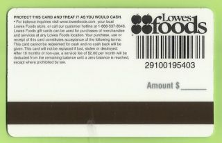 LOWES FOODS Grocery Collectible Gift Card   Flakes   No Value   Buy 6