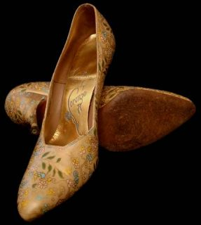 Vtg Womens Shoes Lorenzo Printed Leather Pumps Stiletto Heels 1950s