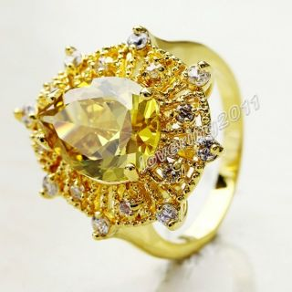 Brand Jewellery Sparkling Women 18K Yellow Gold Filled 10ct Topaz Ring