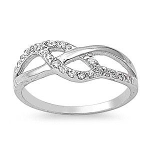 Sterling Silver Clear CZ Love Knot Ring Italian Unique Unity Band