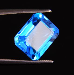cts Certified Untreated Emerald Cut Blue Topaz Loose Gemstone
