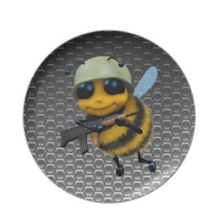 Cue 3d Bee Soldier Meallic Honeycomb Pary Plae