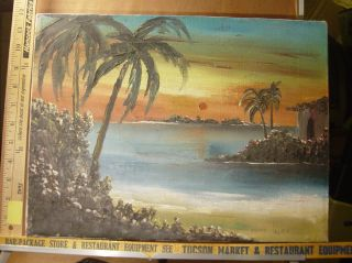 Antonio Lopez Beach Island Scene Oil Painting