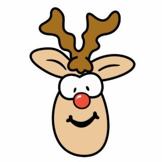 Funny Red Nose Reindeer Head Cut Outs