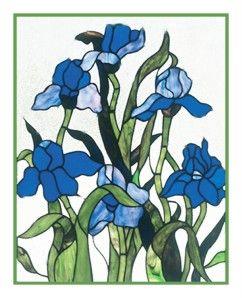 Louis Comfort Tiffany Blue Irises Flower Counted Cross Stitch Chart