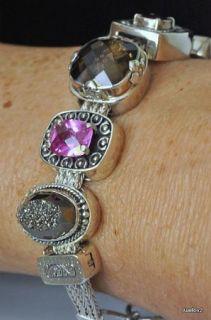 Sterling Silver Gemstone LORI BONN Charm Bracelet CENTER OF ATTENTION