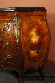 Louis XV Hand Painted Marble Top Bombay Chest Commode
