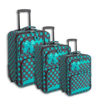Polka Dot 3 Piece Luggage Suitcase Set Blue Brown