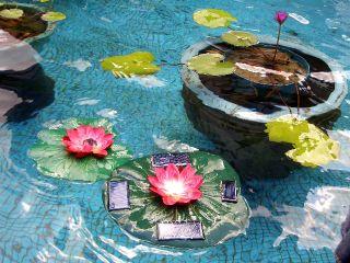GOLDENLITE888 Solar Power Lotus Pond Water Fountain Color LED Light