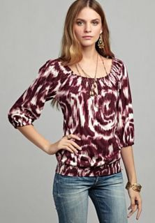 Lucky Brand Jeans Womens Shirt MENA Hippie Printed Boho Peasant Top Sz