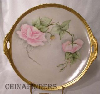 Bavaria Hand Painted Cake Plate Roses Signed